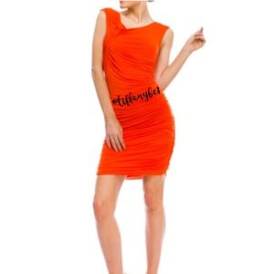 Sexy Orange Jersey Summer Mini Dress